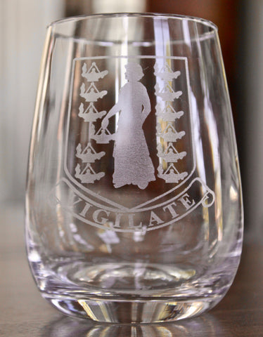 BVI Crest - Engraved Rocks, Stemless Wine & Pint Glasses