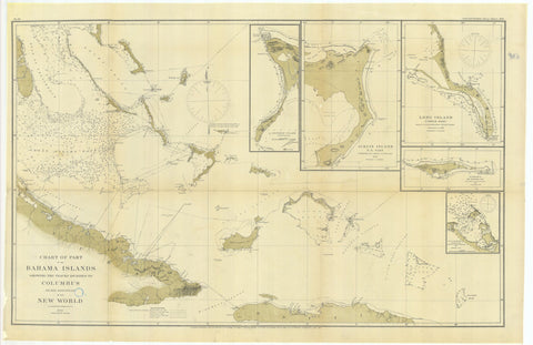 Bahama Islands Map (The Bahamas) Historical Chart 1880