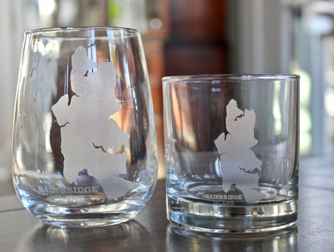 Bainbridge Island Map - Engraved Rock, Stemless Wine & Pint Glasses