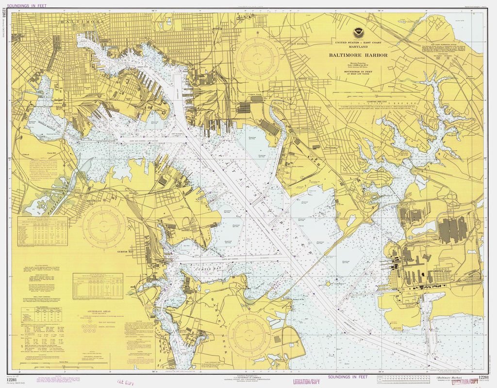 Baltimore Harbor Map - 1977