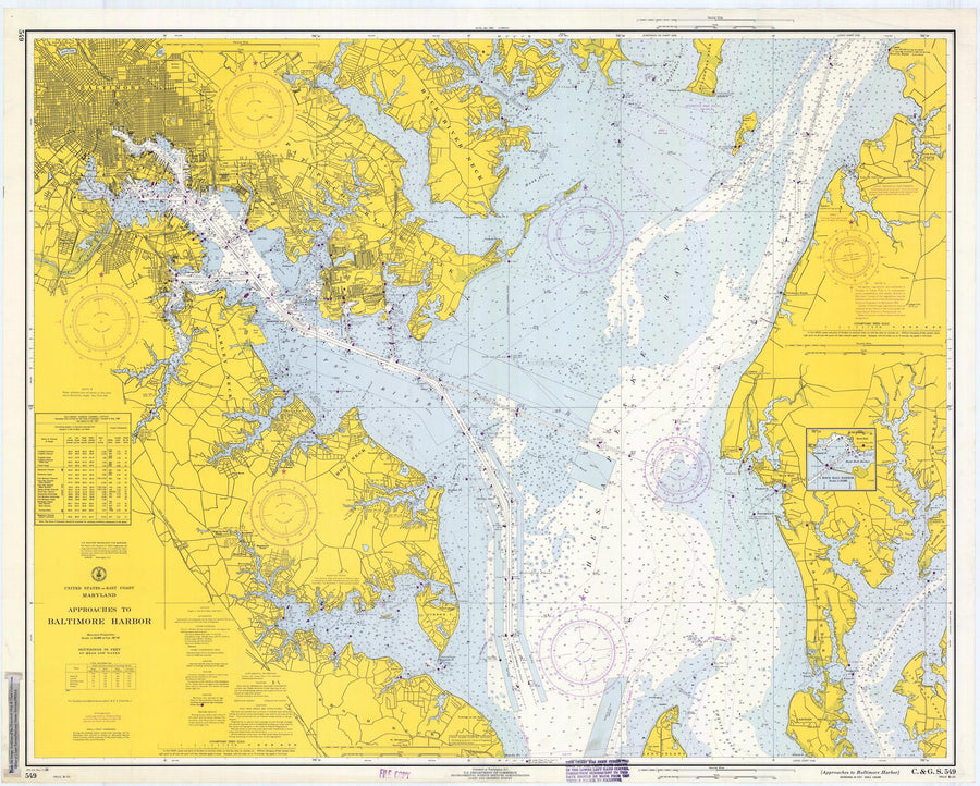 Baltimore Harbor and Approaches Map - 1968