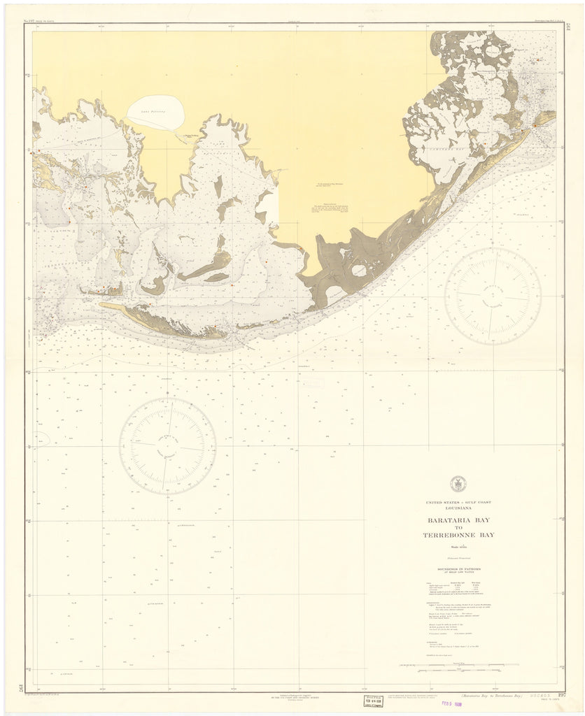 Barataria Bay to Terrebonne Bay Map - 1938
