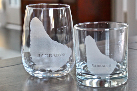Barbados Map - Engraved Rocks, Stemless Wine & Pint Glasses