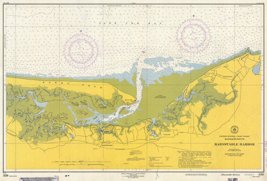 Barnstable Harbor Historical Map - 1954