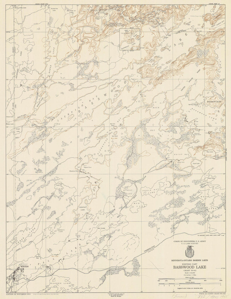 Basswood Lake Map - 1955