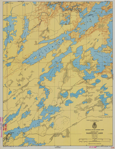 Basswood Lake Map - 1951