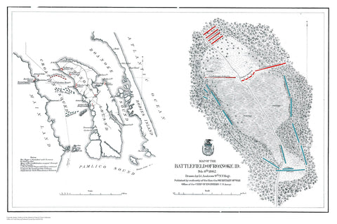 Battlefield of Roanoke Map 1862