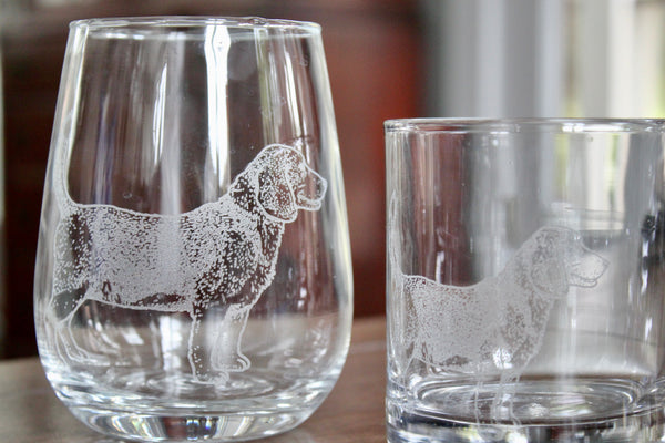 Beagle Engraved Rocks, Stemless Wine & Pint Glasses