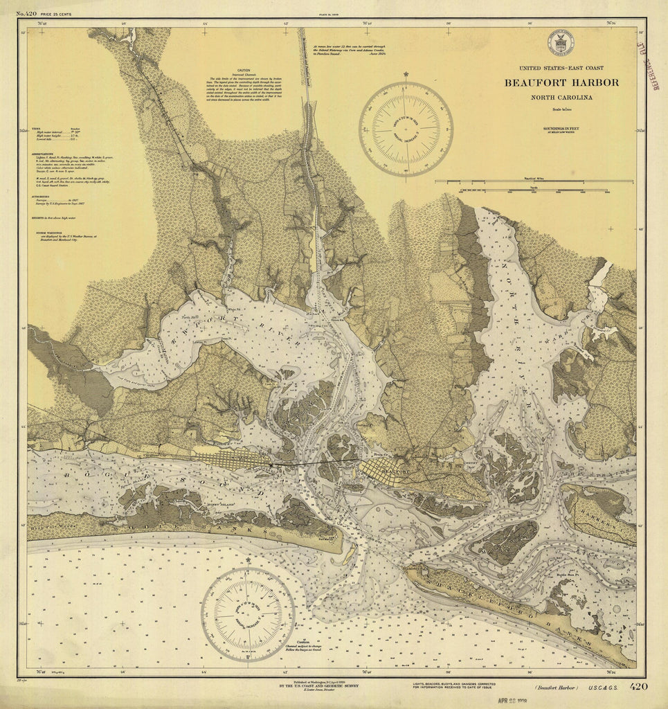 Beaufort Harbor Map - 1928