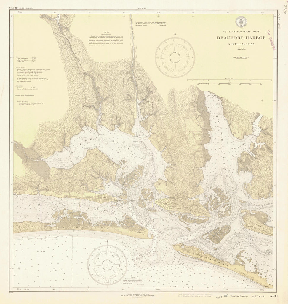 Beaufort Harbor Map - 1930