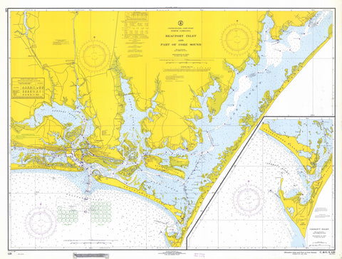 Beaufort Inlet Map and Core Sound North Carolina Chart - 1968