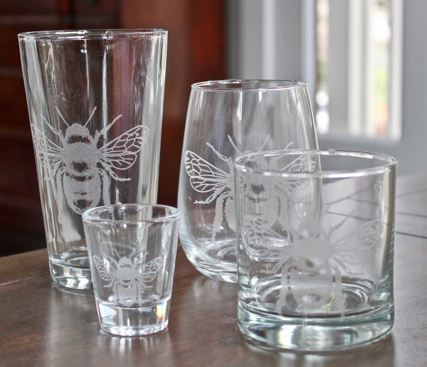 Bee Engraved Rocks, Stemless Wine & Pint Glasses