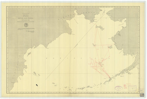 Bering Sea Map - British Naval Vessels - 1891