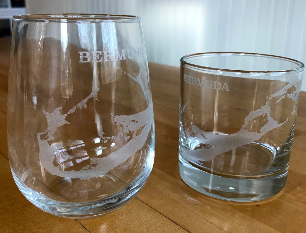 Bermuda Map - Engraved Rocks & Stemless Wine Glasses