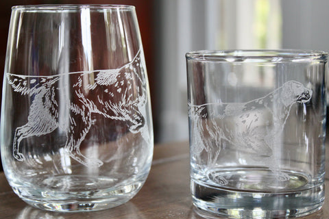 Bird Dog (Pointer) Engraved Rocks, Stemless Wine & Pint Glasses