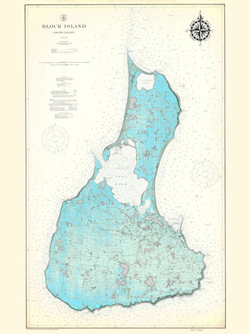 Block Island Map - 1914 (fun Blue)