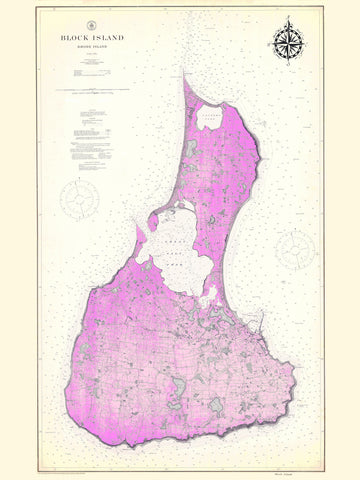 Block Island Map - 1914 (fun Pink)