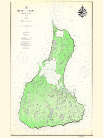 Block Island Map - 1914 (fun Green)