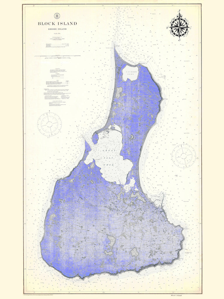 Block Island Map - 1914 (fun Violet)