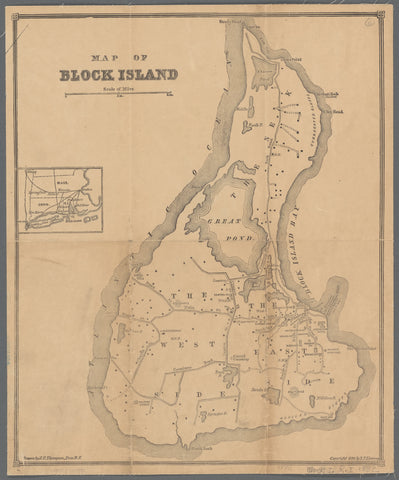 Block Island Historical Map - 1882