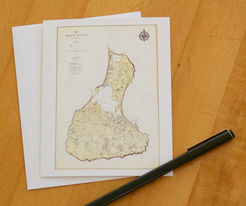 "Block Island Map Notecards (1914) 4.25""x5.5"""