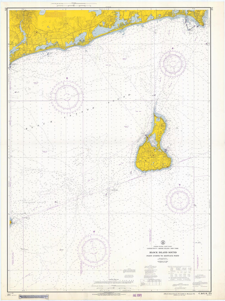 Block Island Sound Map - Point Judith to Montauk 1966