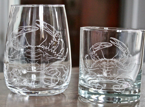 Blue Crab Engraved Rocks, Stemless Wine & Pint Glasses