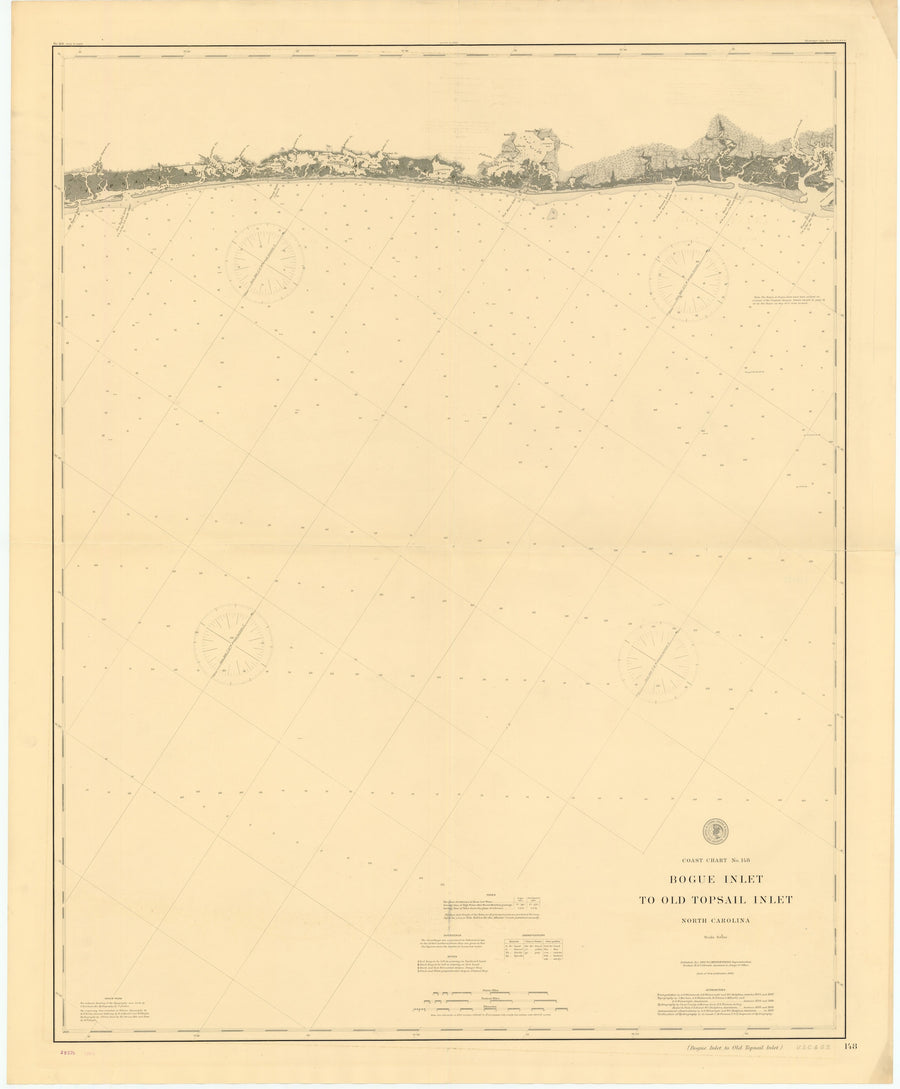 Bogue Inlet to Old Topsail Inlet Map - 1889