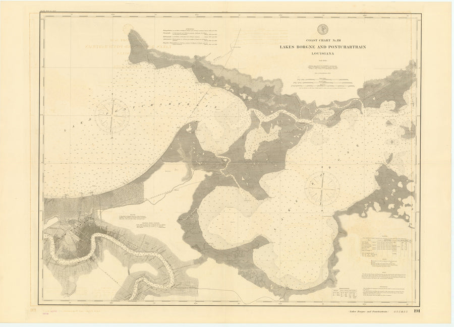 Borgne Lake & Pontchartrain Lake Map - 1896