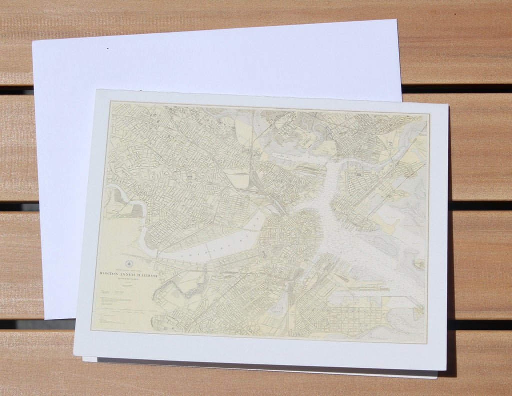 "Boston Harbor Map Notecards (1921) 4.25""x5.5"""