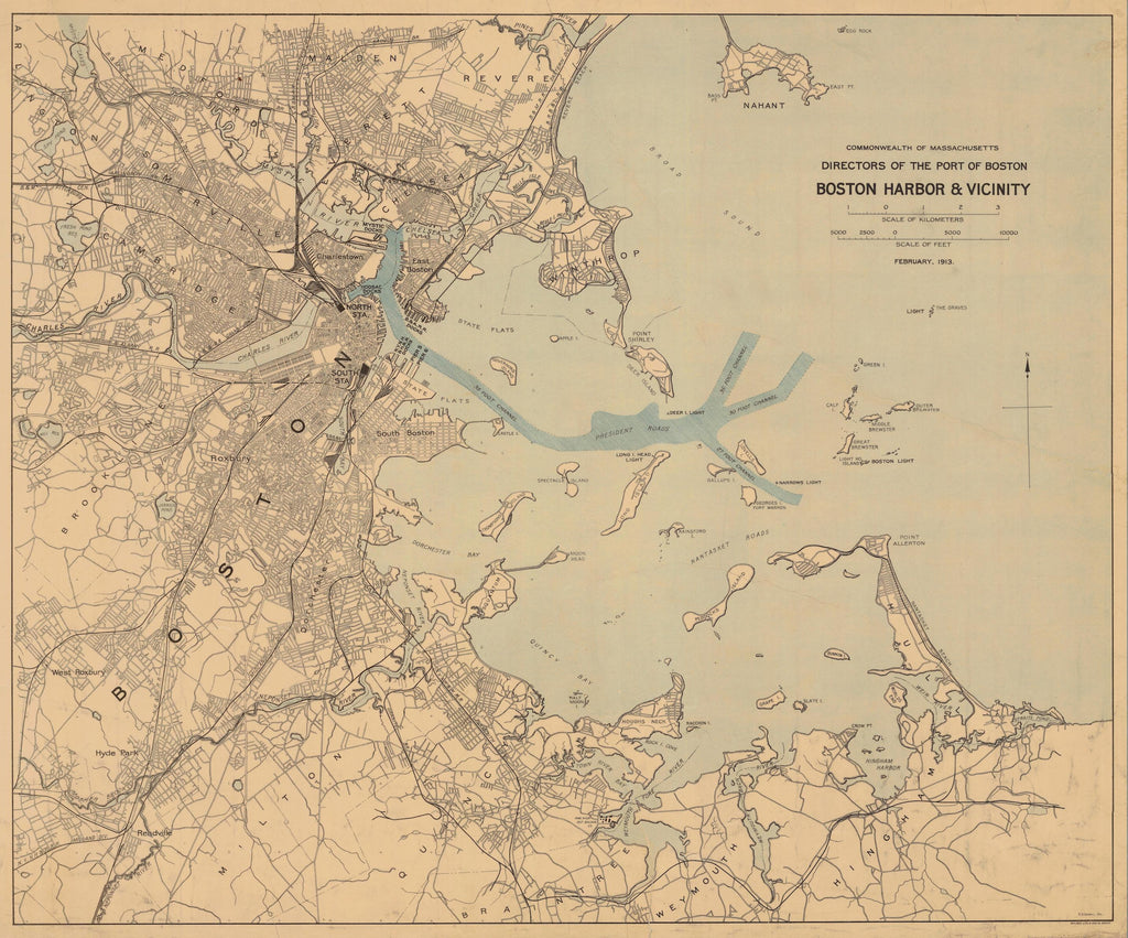 Boston Harbor & Vicinity Map 1913