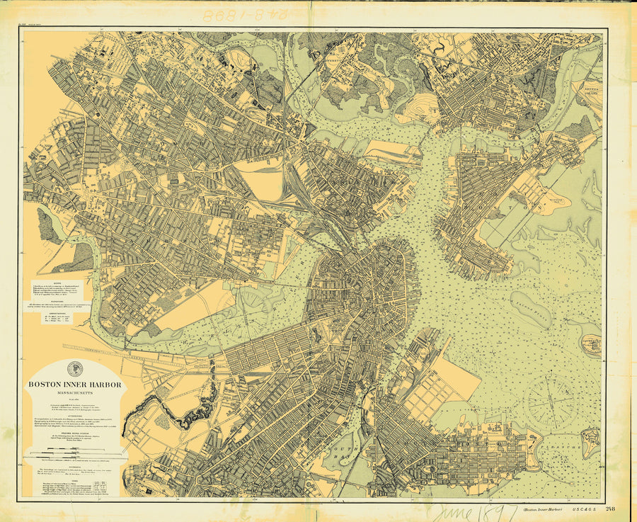Boston Inner Harbor Historical Map - 1897