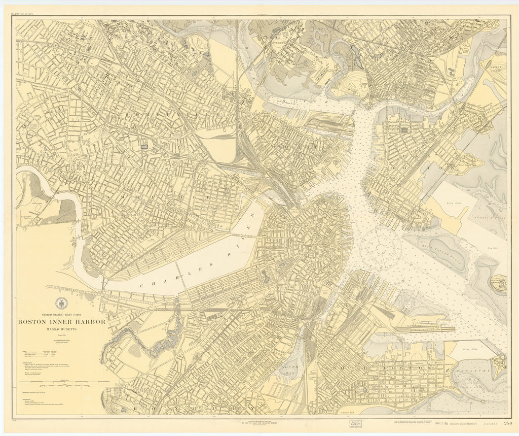 Boston Inner Harbor Historical Map - 1921