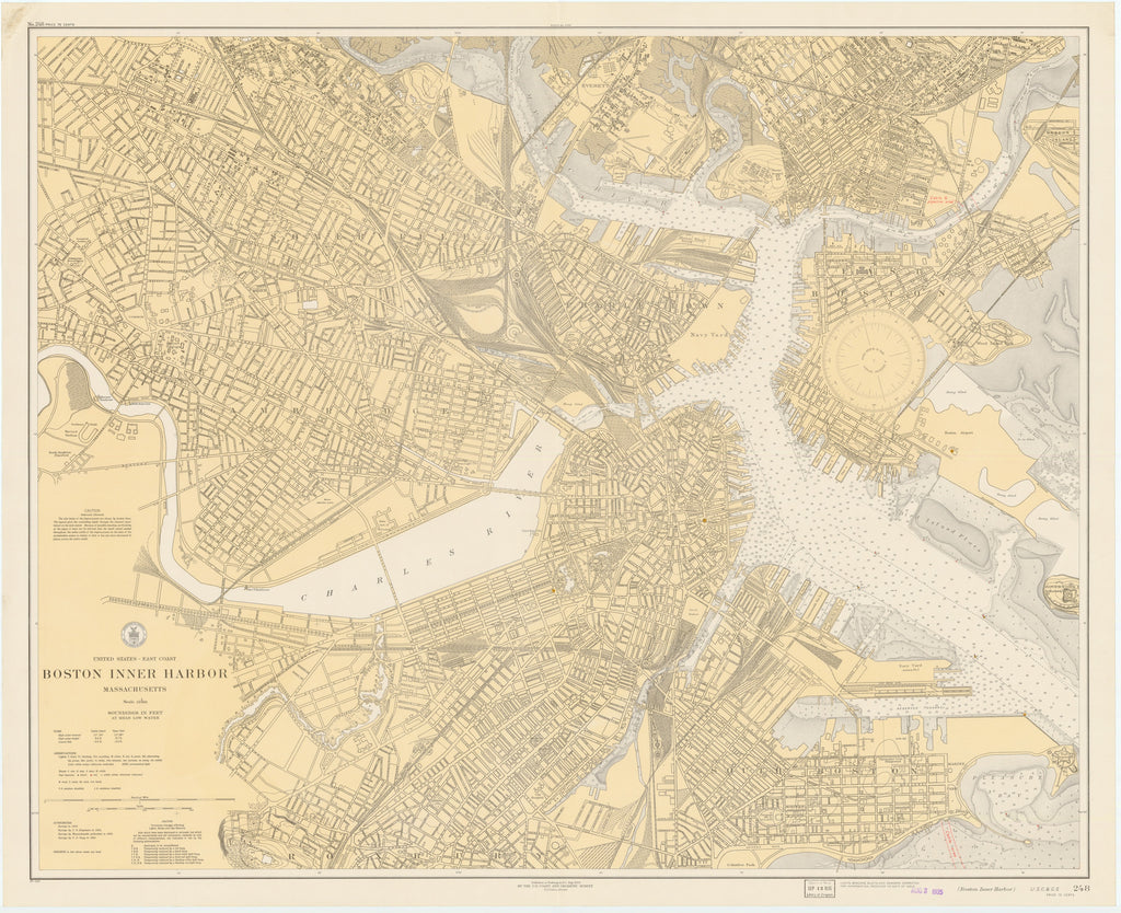 Boston Inner Harbor Historical Map - 1935