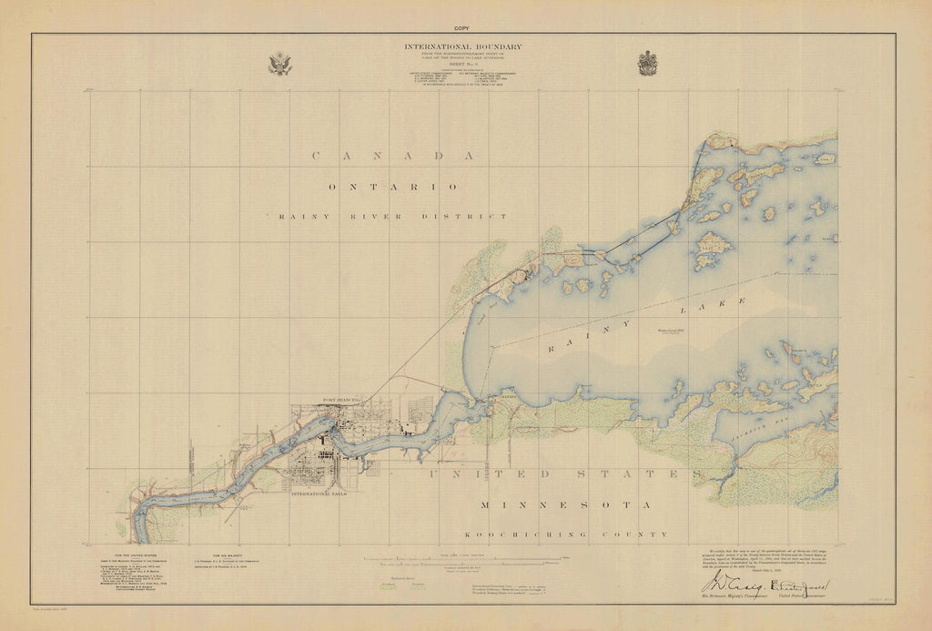 Boundary Waters Map - Lake of the Woods to Lake Superior - 1928