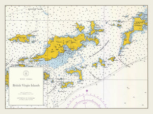 British Virgin Islands Map - (BVI) Tortola to Virgin Gorda 1962