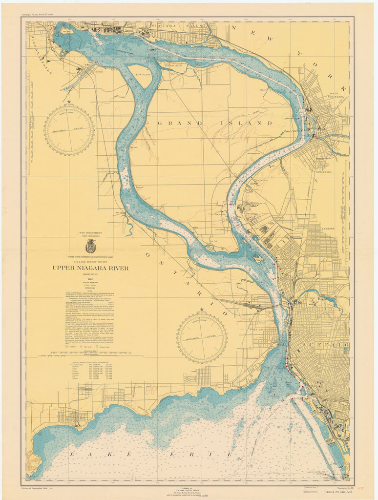 Buffalo Harbor and Niagara Falls Historical Map - 1947