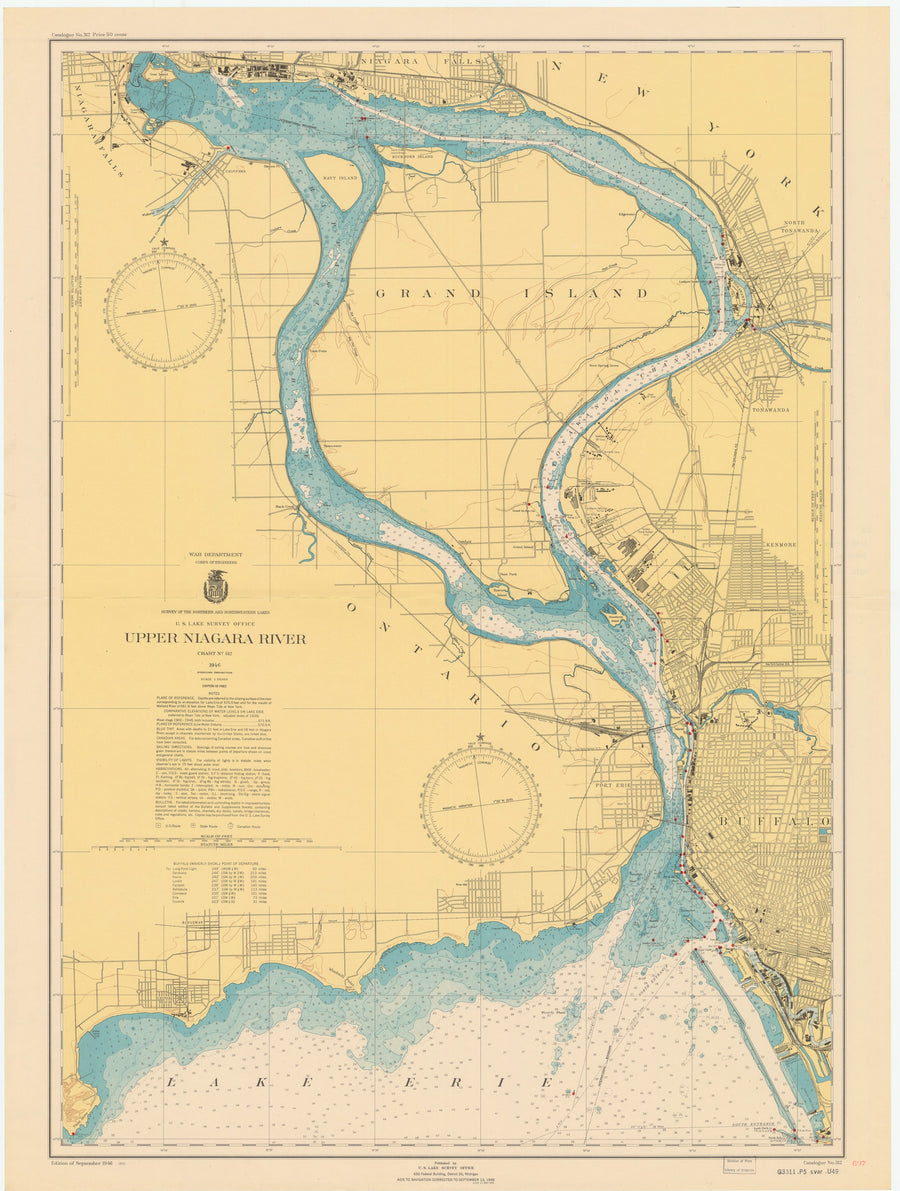 Buffalo Harbor and Niagara Falls Map - 1947