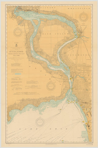Buffalo Harbor and Niagara Falls Historical Map - 1910