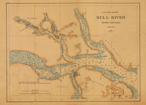 Bull River Map - South Carolina 1872