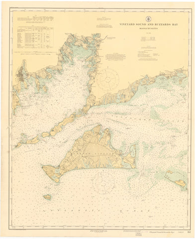 Buzzard's Bay & Martha's Vineyard Historical Map - 1920
