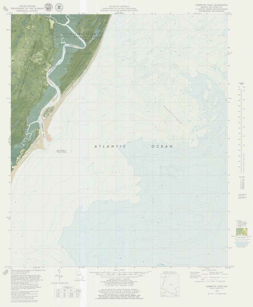 Cabretta Inlet Map - 1979