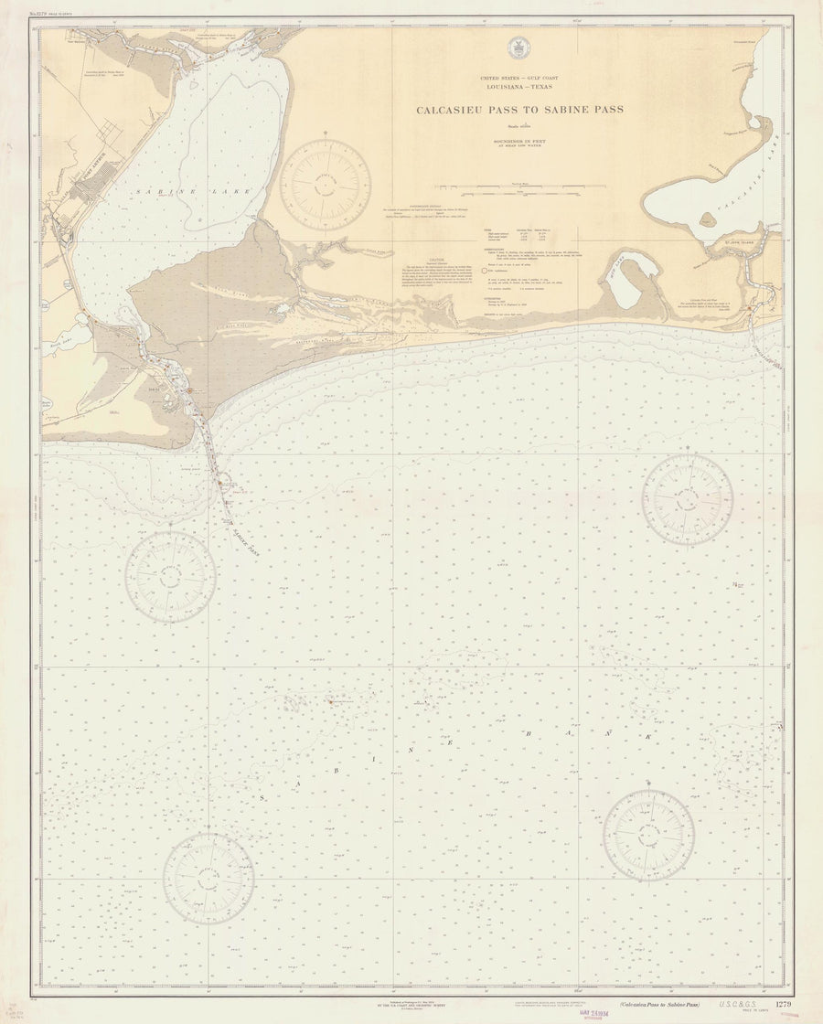 Calcasieu Pass to Sabine Pass Louisiana Map - 1934