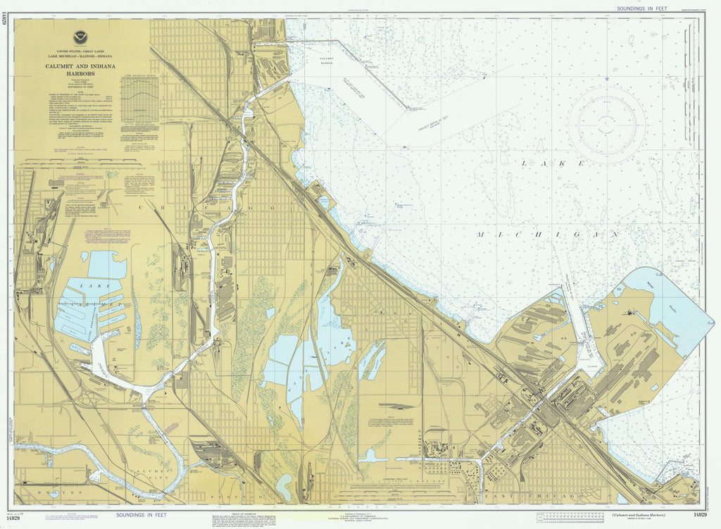 Calumet and Indiana Harbors - Lake Michigan Map 1979