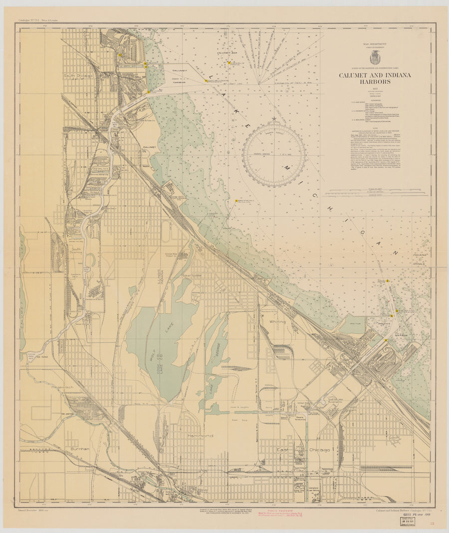 Calumet and Indiana Harbors - Lake Michigan Map - 1933