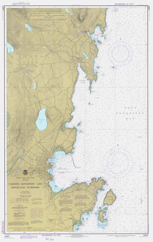 Camden, Rockport and Rockland Harbors Map 1977