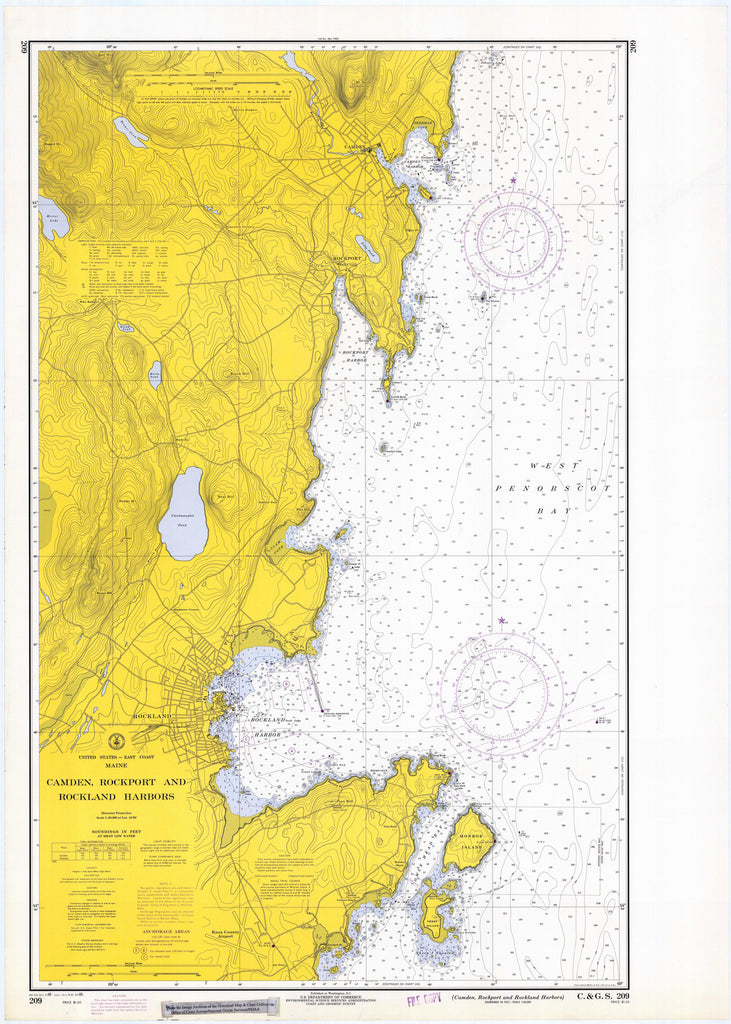 Camden, Rockport and Rockland Harbors Map 1969