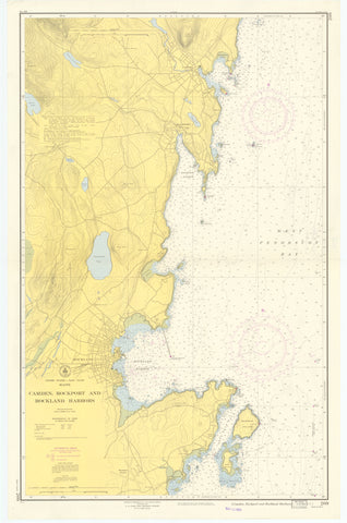 Camden, Rockport and Rockland Harbors Map 1953