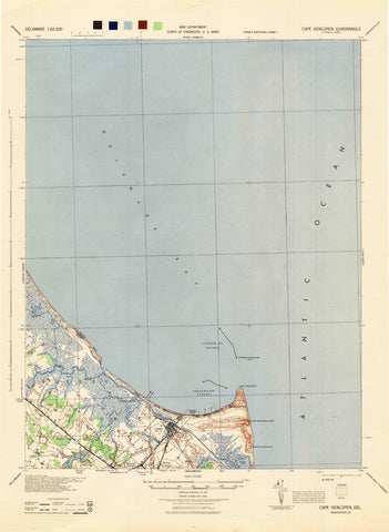 Cape Henlopen Topographical Map - 1944
