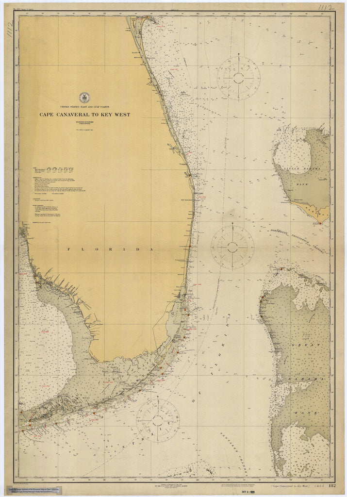 Cape Canaveral to Key West Historical Map - 1925